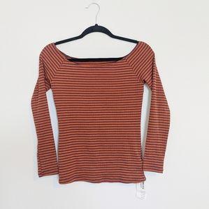 American apparel Carmen Top Rust Navy Stripe M
